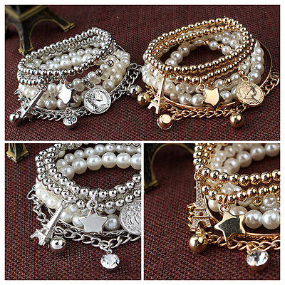 New Womens Jewelry Gold Metal Pearl Charm Bangle Multilayer Pendant Bracelet