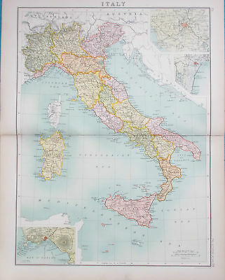 Map of Italy. 1898. Bartholomew. EUROPE. Original