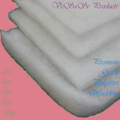 "Wadding Polyester Quilting Batting Upholstery Padding 60"" 2oz 4oz 6oz 8oz 14oz"