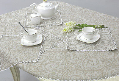 LINEN Table Set NATURAL FLAX: 13 pcs (Cloth and 12 Napkins) EMBROIDERED