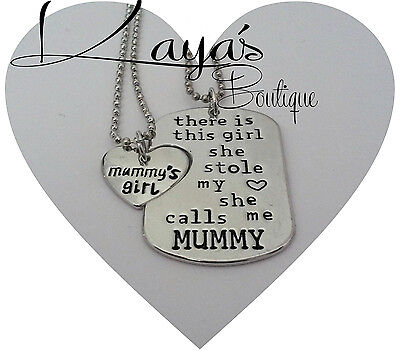 925 Silver Plt Twin Dog Tag Necklaces *Mummy Daughter Mum Mother Girls *Gift*