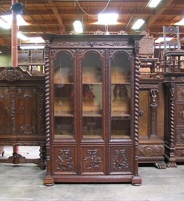 11717 : Large French Antique Carved Hunt Renaissance 3 Door Bookcase Cabinet