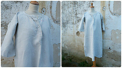 Antique Edwardian 1900 French linen hemp flounced  neckline nightgown shirt