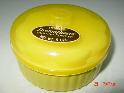 Vintage Sealed Pond's Dreamflower Perfume Dusting Powder 5 oz Yellow Sponge puff