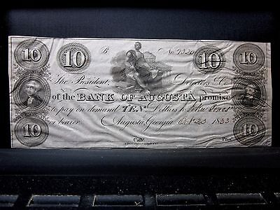 1833 $10 Obsolete Bank-Note ✪ Bank Of Augusta ✪ Georgia Ga L@@k 320 ◢Trusted◣