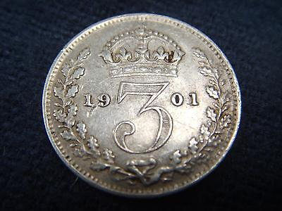 1901 SILVER VICTORIAN THREEPENCE 3d