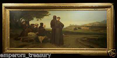 Religious 19th Century Oil Painting St Francis Receiving the Stigmata Landscape