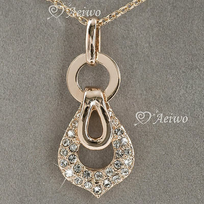 9K Rose Gold Filled Clear Made With Swarovski Crystal Pendant Necklace Classic