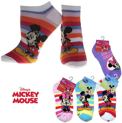 6 Pairs Ankle Socks Assorted Girl Mickey Minnie Sock Size 6-8 NEW