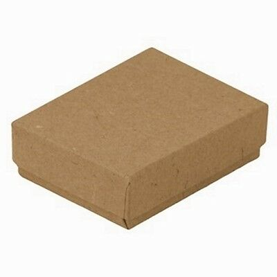 "100 Kraft Brown Cotton Filled Jewelry Packaging Gift Boxes 3 1/4"" x 2 1/4"" x 1"""