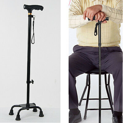 Sturdy Adjustable Crutch Quad Cane Walking Stick With LED Light Lamp in the Grip