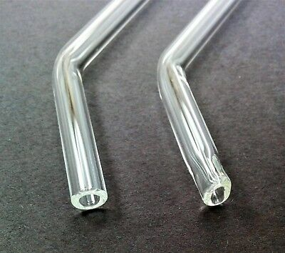 Two Clear Glass Pyrex Drinking Straws with Cleaning Brush by Thestrazspot