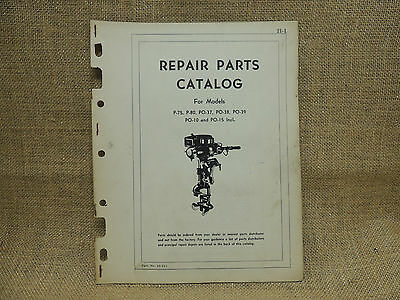 Johnson Sea Horse Repair Parts Catalog Models P-75 P-80 PO-37 PO-39 PO-10 PO-15