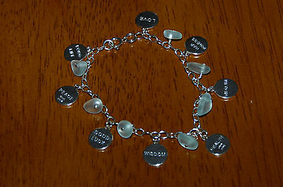 925 Sterling Silver Genuine Sea Glass Chinese Symbol Word Charm Bracelet