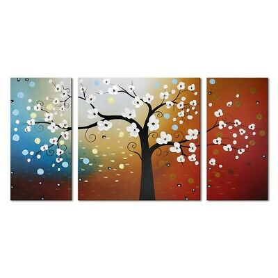 Original Abstract Oil Painting on Canvas Home Art Decor Colorful Tree Framed
