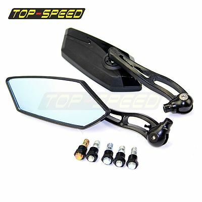 Black Motorcycle Rearview Rear View Blue Mirrors Left Right Side Mount Universal