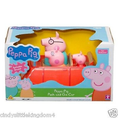 New Peppa Pig push and go car vehicle with Mummy, Daddy & Peppa Pig & sound 18m+