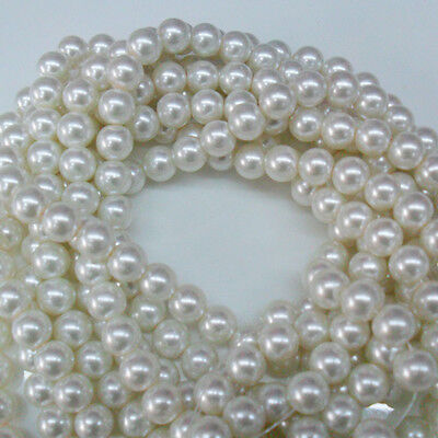 10-100Pcs White Glass Pearl Imitation Round Loose Spacer Bead DIY 4/6/8/10/12mm
