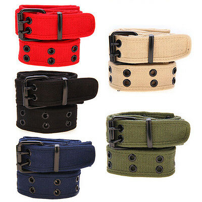 Top Mens Womens Cotton Casual Canvas Plain Webbing Waist Belt Casual Canvas Belt