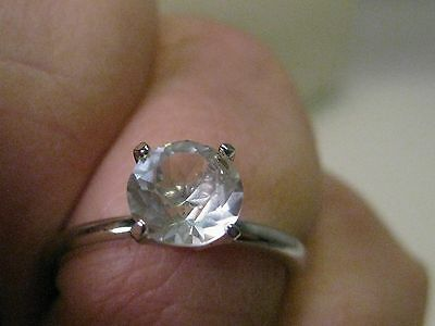 Vintage Silver Tone 1ctw Clear Stone Solitaire Engagement Ring, size 7