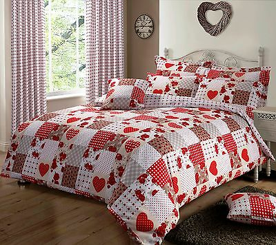 Red Colour Hearts Patchwork Design Reversible Bedding Duvet Quilt Cover Set