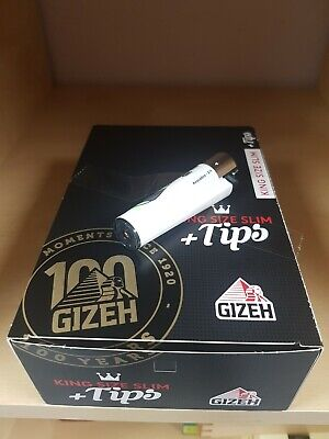 26 x Gizeh  King Size Slim + Tips je 34 Blättche + Clipper Feuerzeug