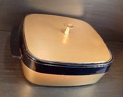Vintage West Bend Thermo-Serv Black & Gold Insulated Casserole Dish - Cool!