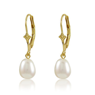Genuine Freahwater Drop White Pearl Dangling From A 10K Gold Lever Back Earring