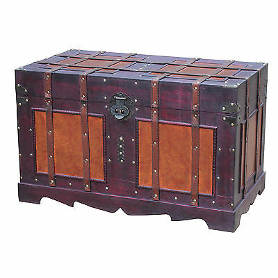 Steamer Trunk Antique Style Chest Wood Metal Home Decor Storage Vintage