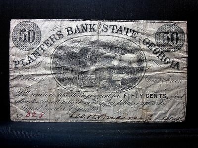 1861 50C Obsolete Bank-Note ✪ Planters Bank State Georgia ✪ Ga 328 ◢Trusted◣