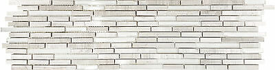 Stroked Matte White Wood Marble, Frosted & Polished Glass Kitchen Bath Mosaic-11