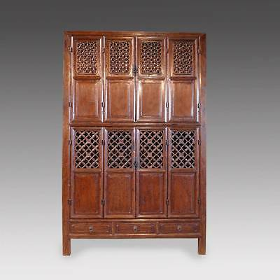 Fine Antique Chinese Elm Wood Cabinet Wardrobe Carved-Lattice China 19Th C