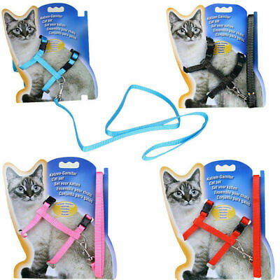Nylon Pet Cat Kitten Adjustable Harness Lead Leash Collar Belt Safety Rope New