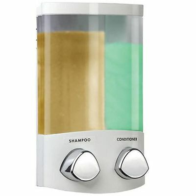 Croydex Euro Duo Wall Mounted Double Conditioner Shampoo  Dispenser Shower White