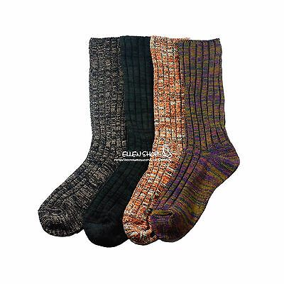 4 Pairs Womens Wool Blend Warm Soft Thick Solid Fashion Dress Long Socks 9-11