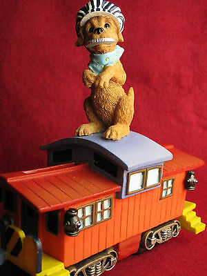BANK Dog Conductor Train Caboose Bank Statue Coin Decoration 6 in. Baby Nursery?