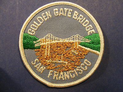 golden gate bridge (round with white border, gold bay water) patch