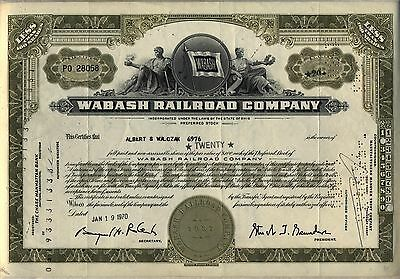 Wabash Railroad Stock Certificate Ohio