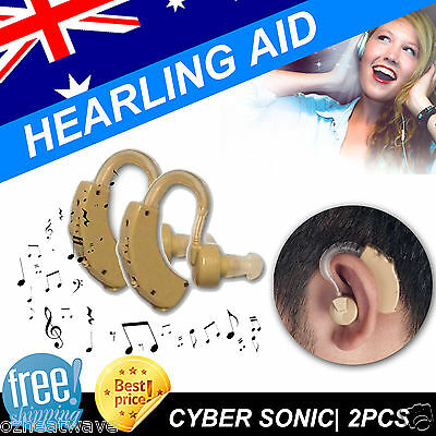 2x Hearing Aids Aid Behind The Ear Sound Amplifier Sound Adjustable New Kit