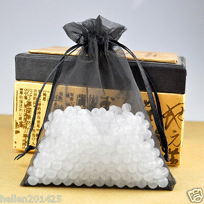 100pcs Organza Jewelry Pouch Candy Wedding Party Favor Gift Packaging Bag Black