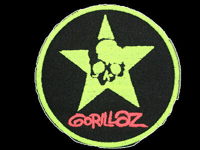 GORILLAZ Green Star Embroidered Iron On Sew On Shirt Bag Badge Patch