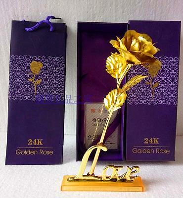 24K Gold Foil Plated Rose Valentine's Day Gift Golden Rose Flower Free Gift Box