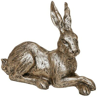 Elegant Champagne Bronze Effect  Hare / Rabbit Laying Ornament Sculpture NEW