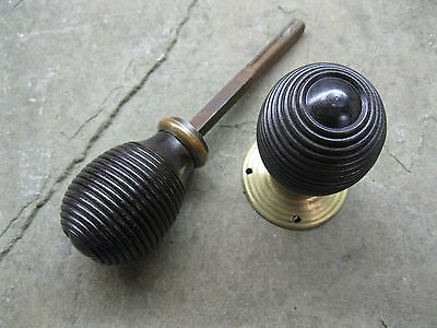 Pair of Original Reclaimed  Ebony Reeded Knobs with Brass Rose 0158