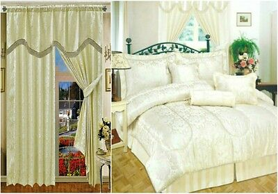 Curtains Jacquard With Pelmet Separately Matching 7 Pcs Comforter Amazon Cream
