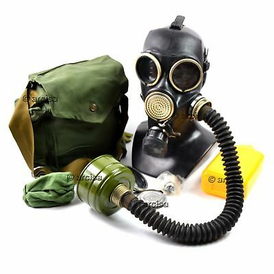 Soviet russian gas mask GP-7V Black+rubber hose New full set All equipment Small