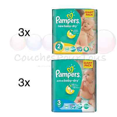 300 COUCHES taille 2 + 270 COUCHES taille 3 PAMPERS ACTIVE BABY DRY