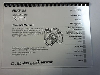 Fujifilm X-T1 Printed Instruction Manual User Guide 152 Pages A5