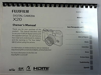 Fujifilm X20 Printed Instruction Manual User Guide 156 Pages A5