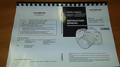 Olympus E-520 Digital Camera Printed Instruction Manual User Guide 147 Pages A5